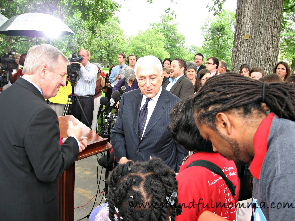 Senator Lautenberg at Stroller Brigade www.mindfulmomma.com