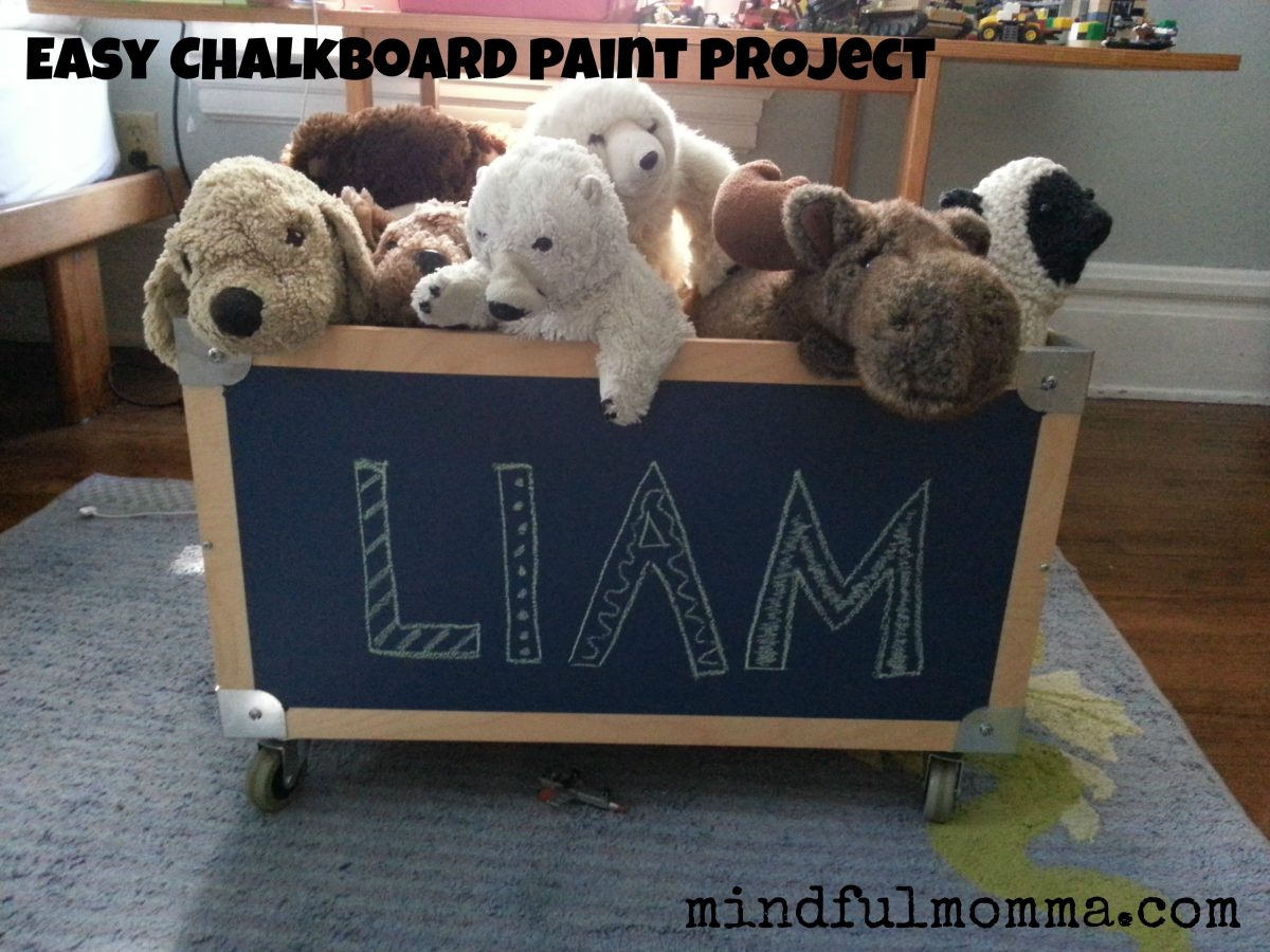 Lullaby Paints chalkboard paint toy box www.mindfulmomma.com