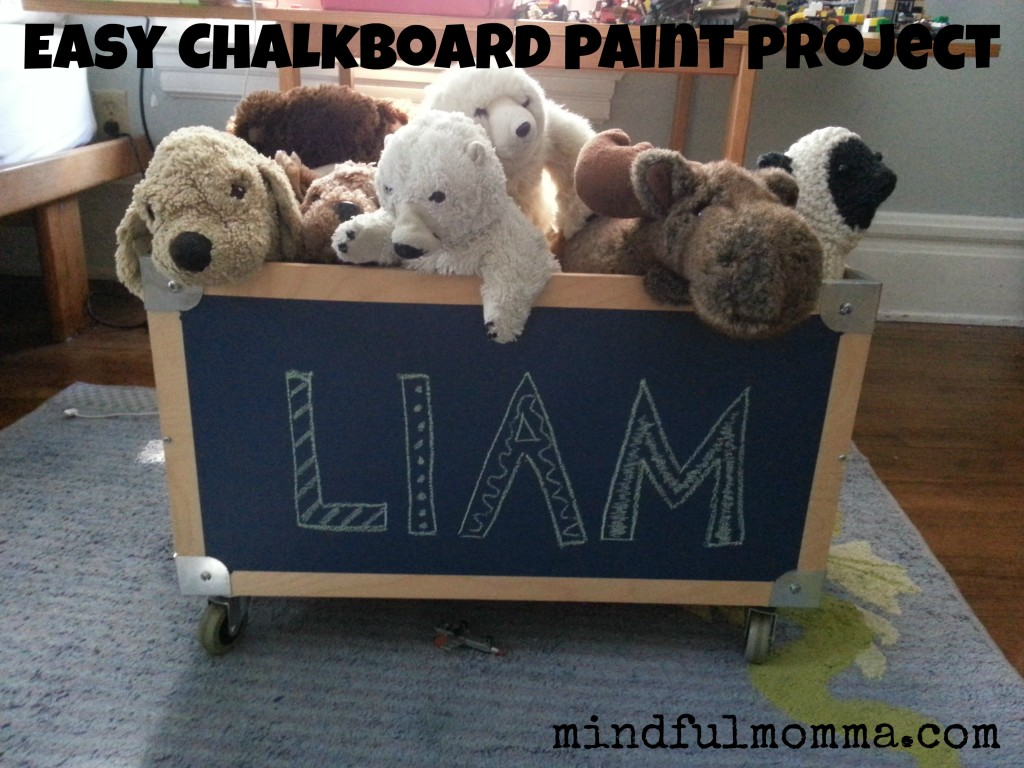 Lullaby Paints chalkboard paint toy box via mindfulmomma.com