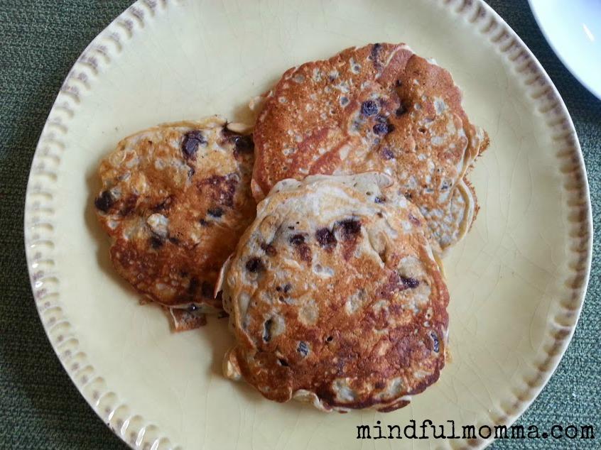 Oatmeal, cherry, chip pancakes via mindfulmomma.com