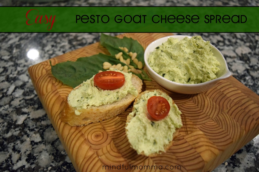 Easy Pesto Goat Cheese Spread www.mindfulmomma.com