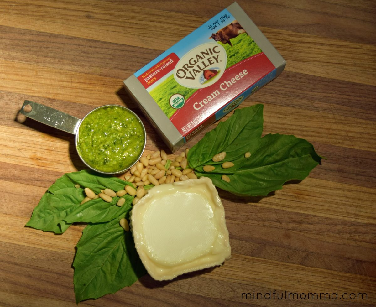 Pesto goat cheese spread via mindfulmomma.com