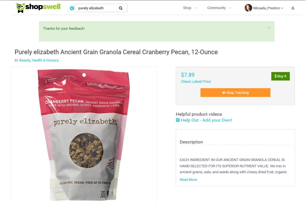 Shopswell Purely Elizabeth Granola