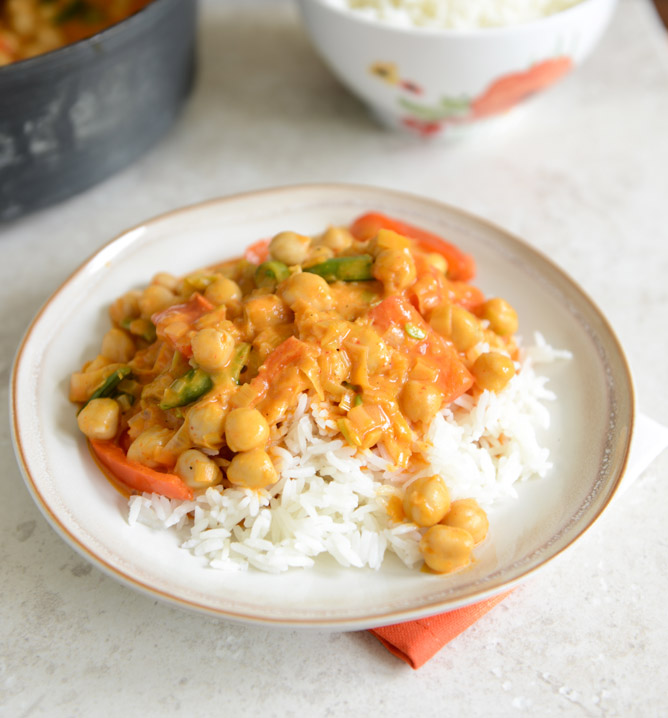 Chickpea Curry with Coconut Rice by How Sweet It Is