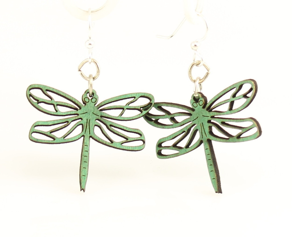 Recycled Wood Dragonfly Earrings // www.mindfulmomma.com