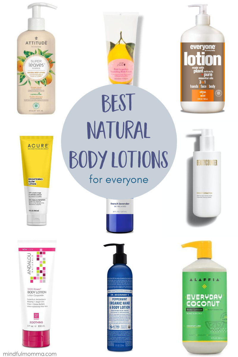 Find the best natural body lotion brands to nourish your skin without harmful chemicals. Product roundup includes certified organic, EWG-Verified, fair trade and more. | #lotion #naturalproducts #skincare via @MindfulMomma