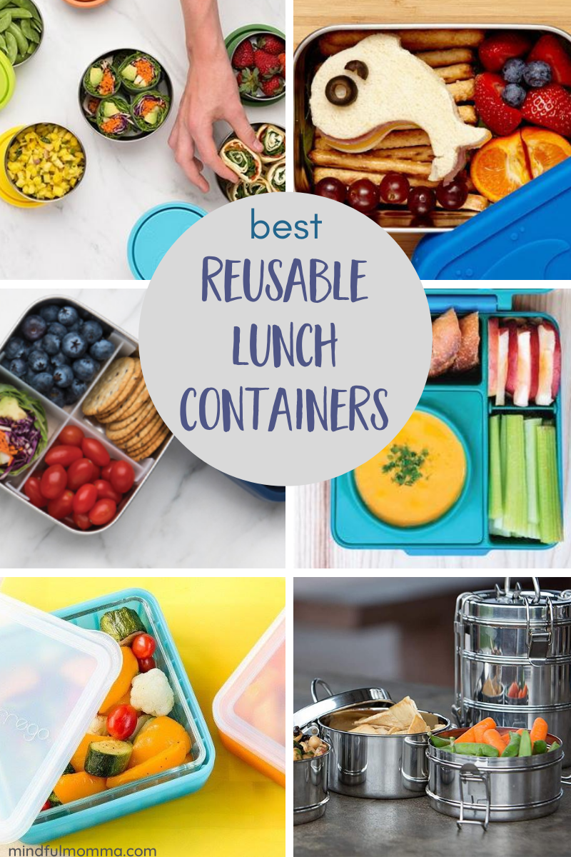 Find the best reusable lunch containers made of sustainable, non-toxic materials like stainless, glass and safe plastic, that will meet the needs of everyone in the family. | #lunchbox #zerowastelunch #zerowaste | #backtoschool #schoollunch #ecofriendly via @MindfulMomma