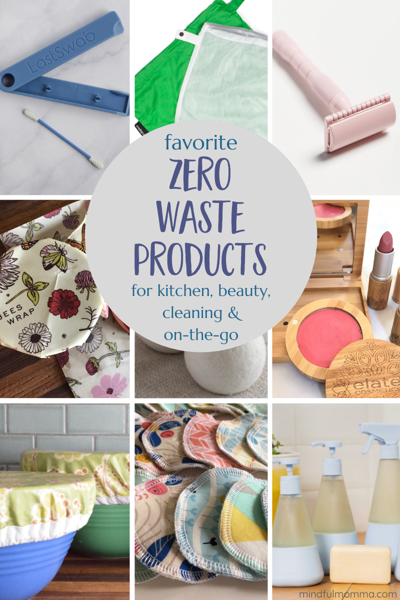 All the zero waste products you need for an eco-friendly lifestyle - including zero waste beauty products, kitchen, cleaning, laundry, grocery shopping and products for on-the-go.   #zerowaste #sustainable #ecofriendly #beauty #cleaning via @MindfulMomma