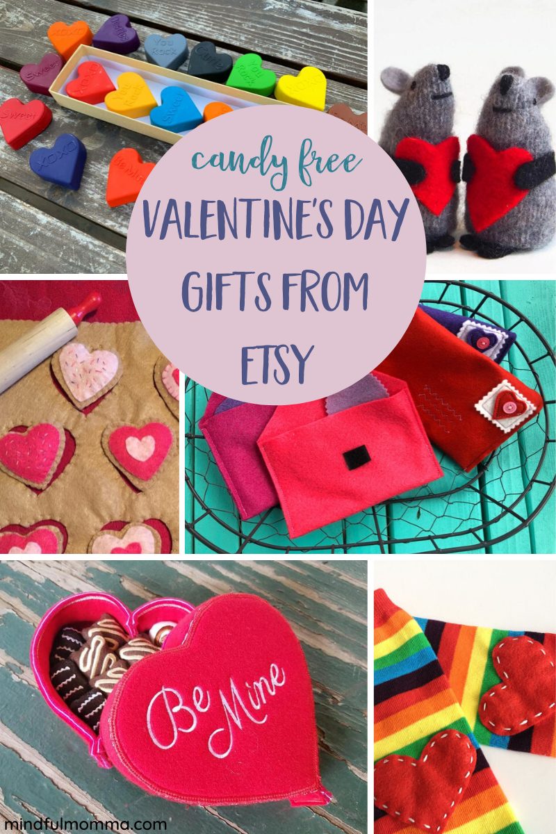 Handmade, candy-free Valentine's Day gifts for kids from Etsy shops. | handmade gifts | #valentinesday #Etsy #kids via @MindfulMomma