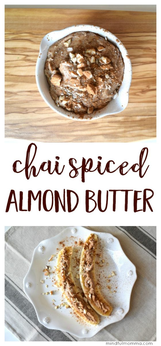 This Chai Spiced Almond Butter recipe is easy to make out of only a few healthy ingredients but tastes like expensive store-bought almond butter. | nut butter recipes | healthy food | breakfast | snack food  via @MindfulMomma