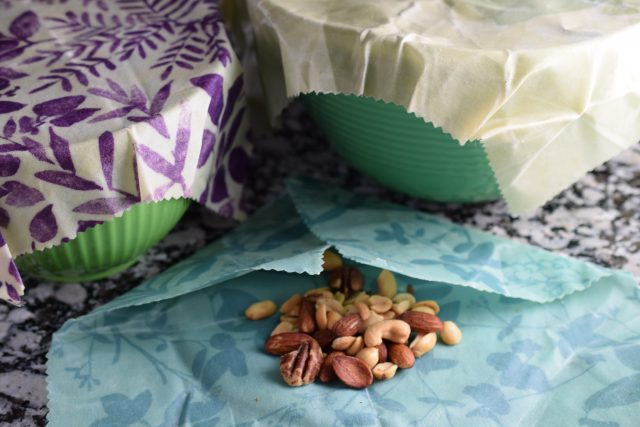 DIY Beeswax Wraps - covered bowls and nuts