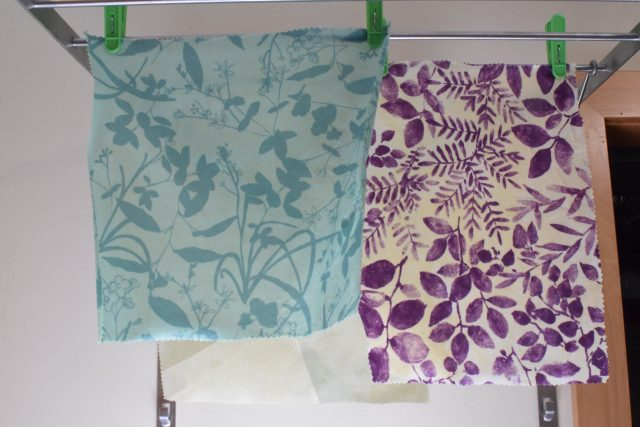 DIY Beeswax Wraps - finished wraps hanging to dry