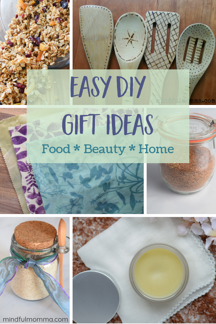 These DIY gift ideas include homemade food gifts, natural beauty products and eco-friendly gifts for the home. | DIY gift guide | homemade gifts | #gifts #DIY #beauty #homemade via @MindfulMomma