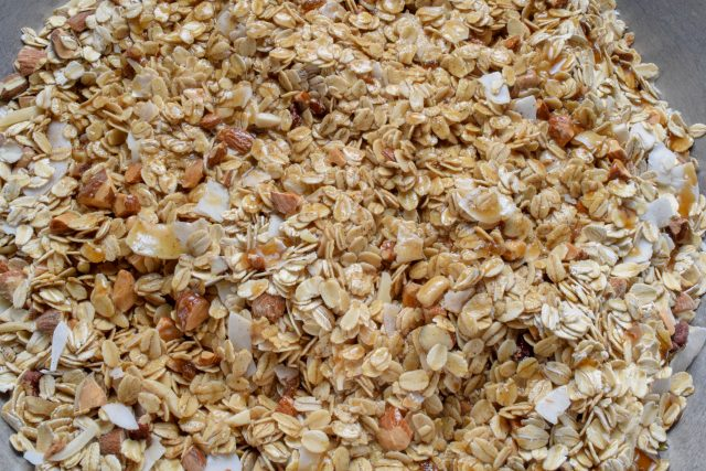 Homemade granola ingredients in bowl