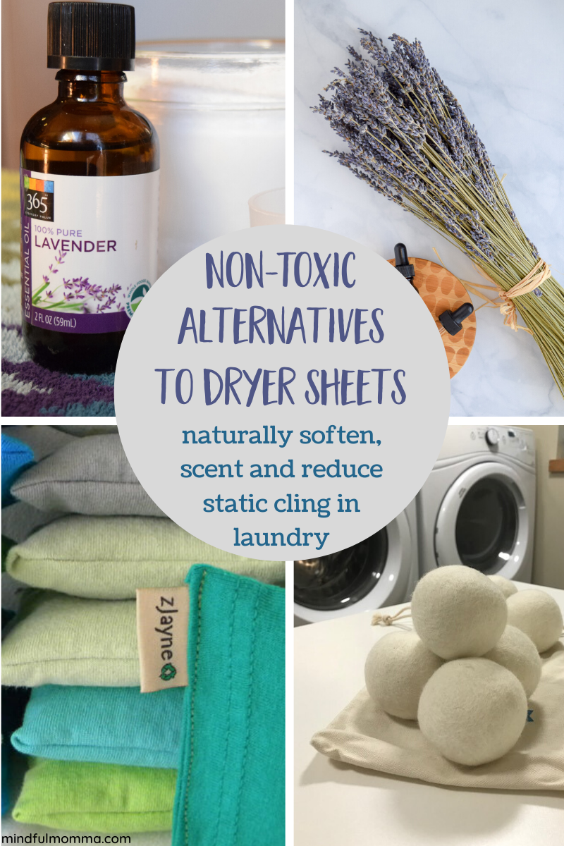 Non-Toxic and reusable alternatives to conventional dryer sheets to soften clothes, reduce static and keep laundry smelling fresh, without toxic chemicals. | #laundry #nontoxic #essentailoils #ecofriendly via @MindfulMomma