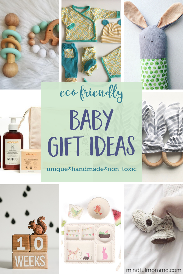 Eco friendly baby gifts made from safe, natural, sustainable materials that are unique, high quality and make wonderful gifts for a baby shower or the holiday gift season. | #baby #babygifts #giftguide #ecofriendly #Etsy #babytoys #organic #naturalproducts #handmade via @MindfulMomma
