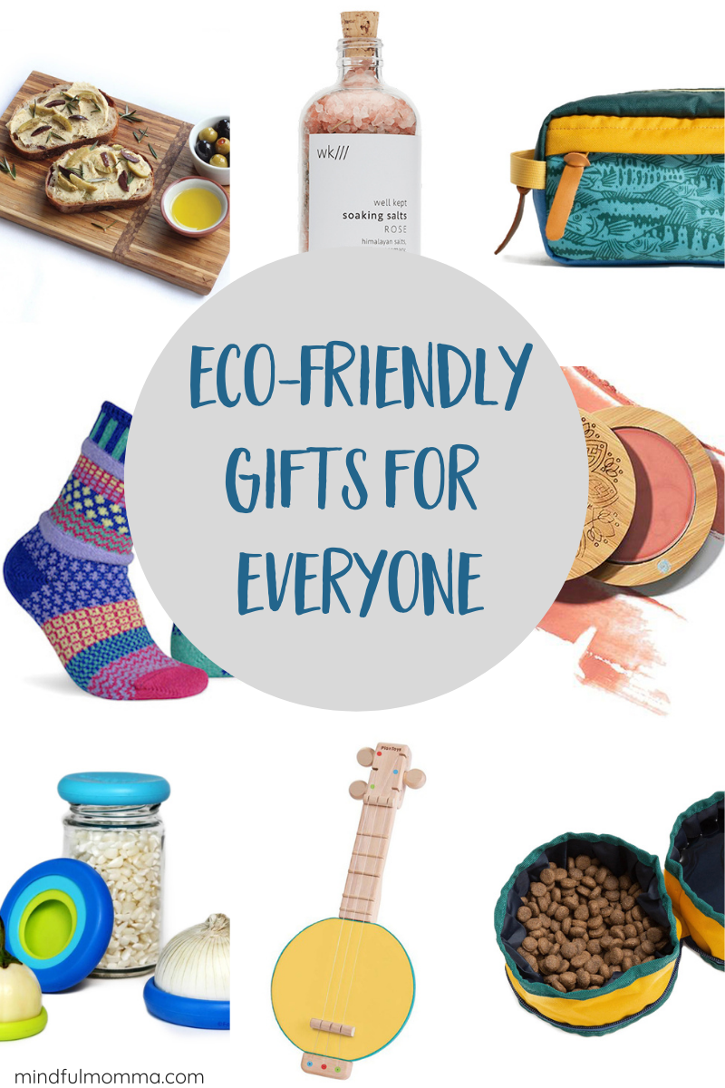 Find eco-friendly gifts for everyone on your list including zero waste gear, natural beauty products, sustainable home & kitchen supplies, travel gear, plus organic and eco-friendly gifts for kids and pets. | #ad #ecofriendly #giftguide #mindfulmomma via @MindfulMomma