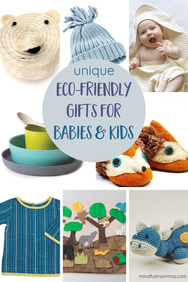 A gift guide full of eco-friendly gifts for babies and little kids, including organic cotton clothing, sustainably made games and toys, and thoughtful accessories. | #gifts #babies #kids #organic #ecofriendly via @MindfulMomma