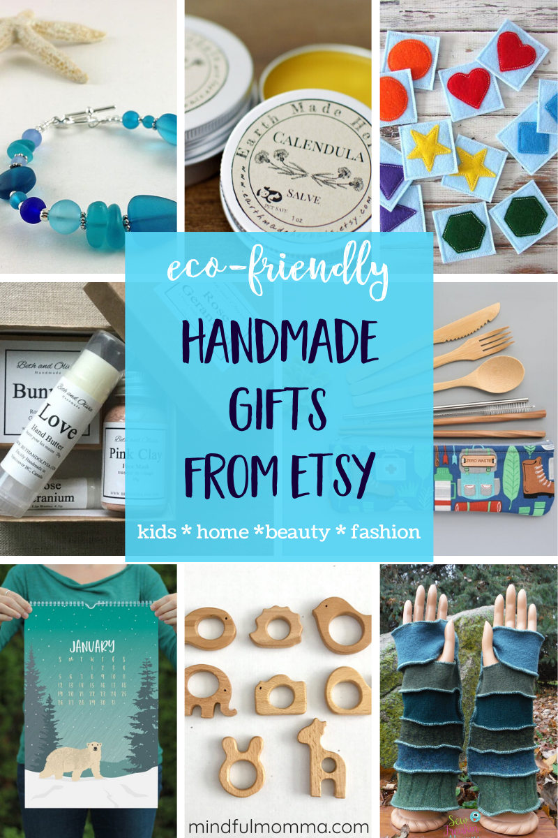 A gift guide of unique, handmade gifts from Etsy that are also eco-friendly - including gifts for the home, jewelry & accessories, beauty products and gifts for babies & kids. #Etsy #gifts #ecofriendly #handmade #giftguide via @MindfulMomma