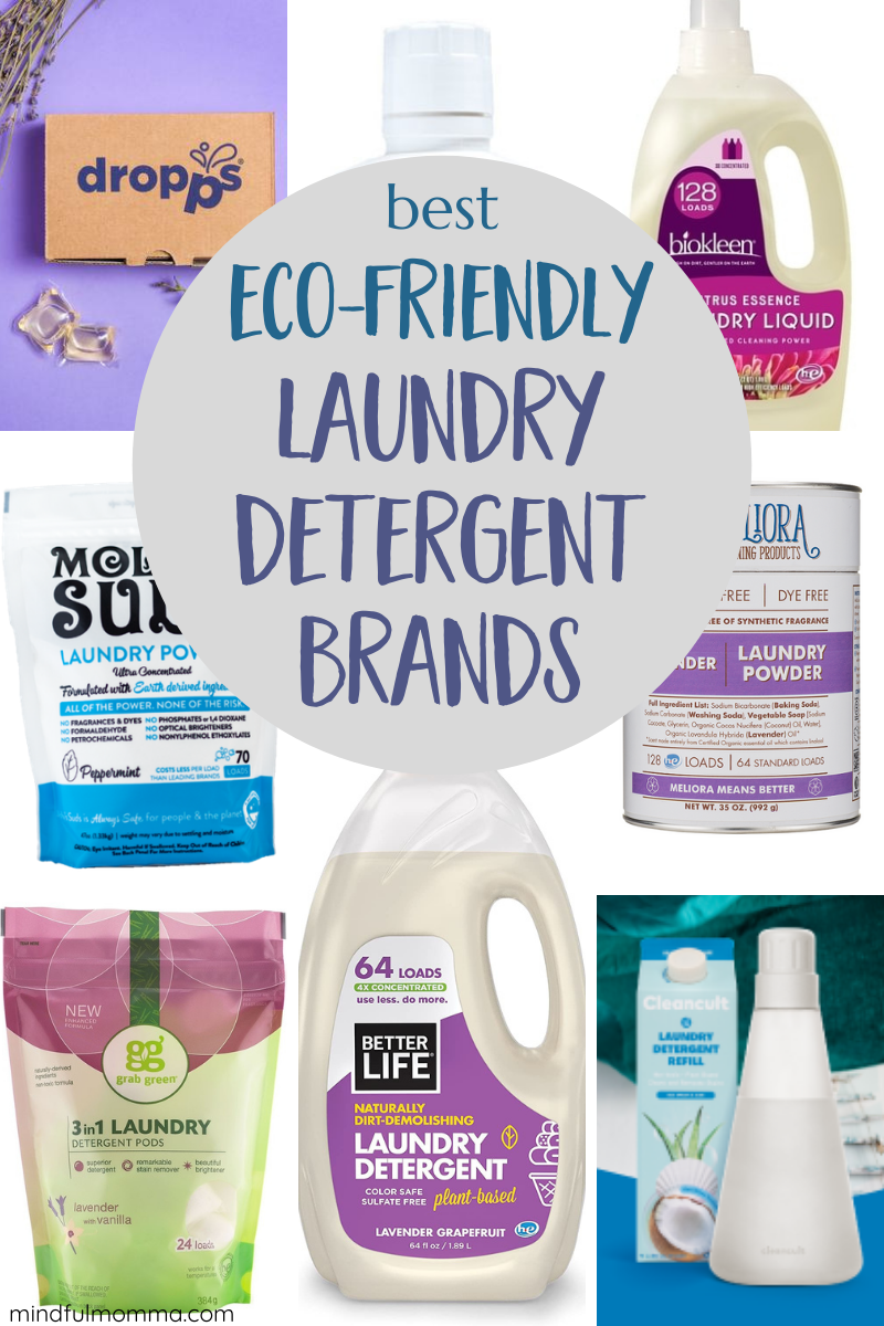 Find the eco-friendly laundry detergent that works best for your family's needs! This review includes laundry powders, liquids and pods, plastic-free laundry detergent and special formulas for odor control | #laundry #cleaning #nontoxic #ecofriendly via @MindfulMomma