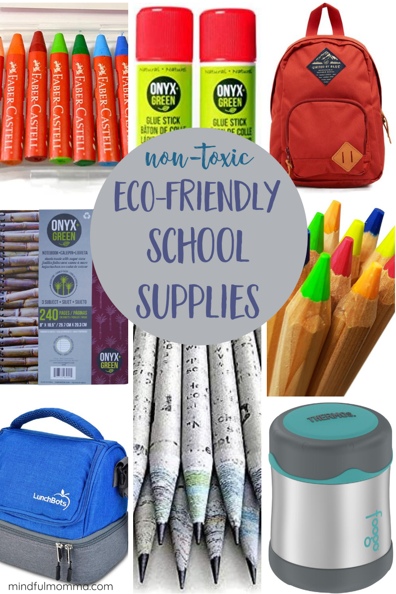 A roundup of non-toxic, eco-friendly school supplies including pencils, markers, crayons, glue and other art supplies, as well as reusable lunch gear and durable backpacks - so you can check off that school supply list with eco-friendly products! | #backtoschool #ecofriendly #nontoxic #schoolsupplies #lunchgear via @MindfulMomma