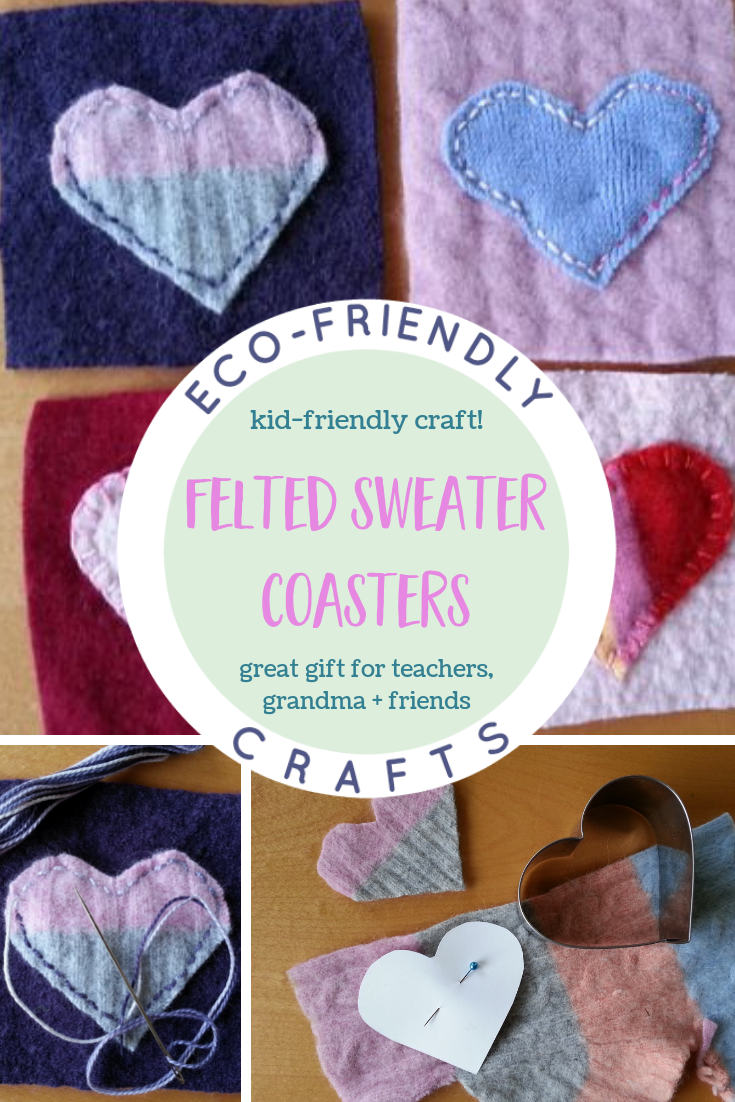 DIY Felted Sweater Coasters - an easy, kid-friendly craft made from felted wool sweaters. Makes a great teacher gift or gift for Grandma, friends or caregivers. | eco-friendly craft ideas | simple sewing project | #felt #crafts #ecofriendly #sewing #kids via @MindfulMomma
