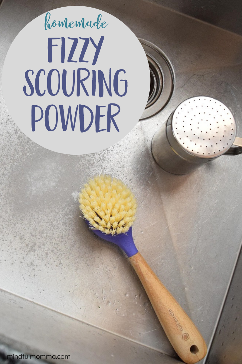 Fizzy Scouring Powder for cleaning sinks, tubs and countertops - scented with grapefruit essential oil | #DIY #cleaning #essentialoils  via @MindfulMomma