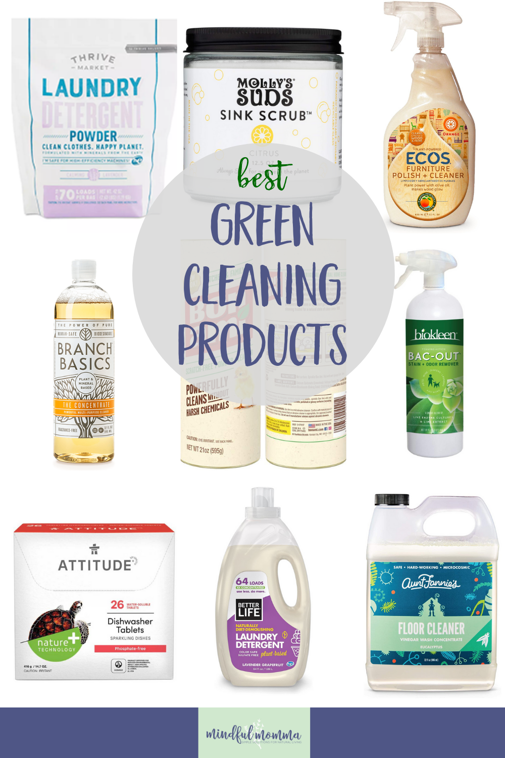 Discover the best green cleaning products and brands that really work - for laundry, dishes and the whole house! Plus learn why you should make the switch to non-toxic, eco-friendly cleaning products in the first place. via @MindfulMomma