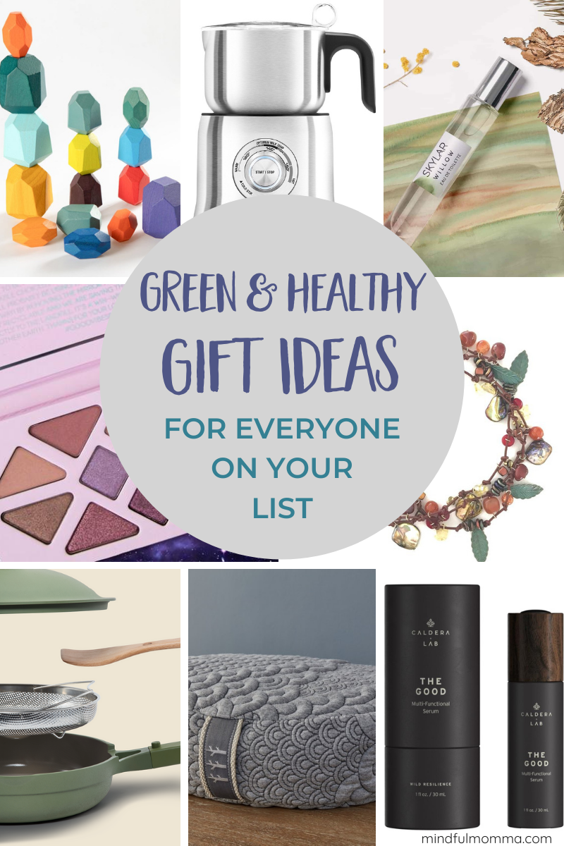 Eco-Friendly Gift Guide - featuring non-toxic, healthy, natural and sustainable gifts from ethical, socially conscious companies. You'll find gifts for mom, kids, guys, stocking stuffers, beauty gifts, eco-friendly home and more! | #giftguide #ecofriendly #gifts #beauty via @MindfulMomma