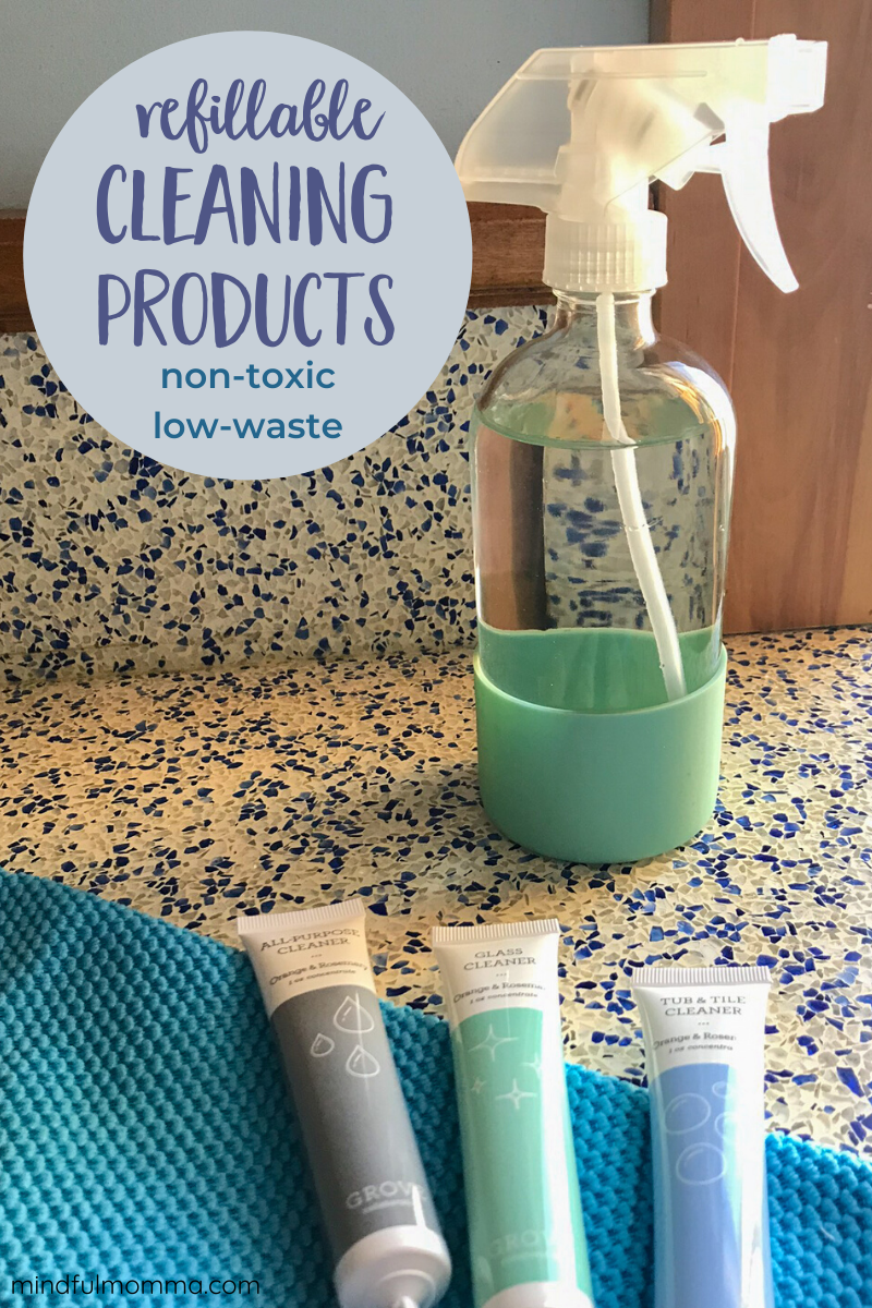 Make your cleaning routine more sustainable by buying refillable green cleaning products instead of products packaged in plastic bottles. Grove Collaborative sells cleaning concentrates and refill pouches as well as the reusable glass bottles for every cleaning task. Get a FREE welcome gift with your first order! | #cleaning #ecofriendly #sustainable #grovecollaborative via @MindfulMomma