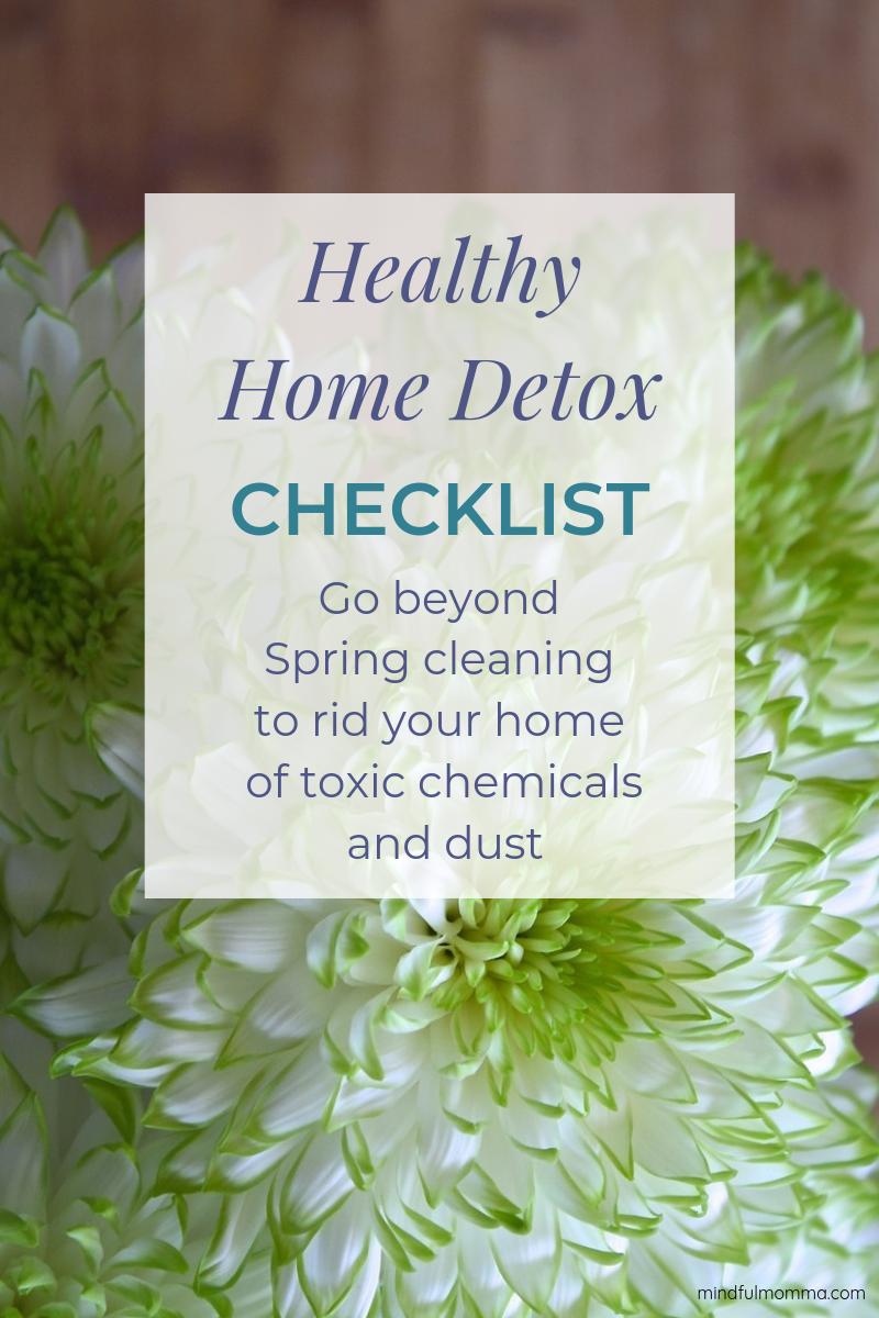 This Healthy Home Detox Checklist will help you air out your home and get rid of toxic chemicals that off-gas from products, come in on shoes, and accumulate in dust. These tips are easy and mostly FREE or low-cost ways to go beyond Spring cleaning and make your home a healthy, non-toxic environment for your family. #springcleaning #healthyhome #homedetox #nontoxic #ecofriendly via @MindfulMomma