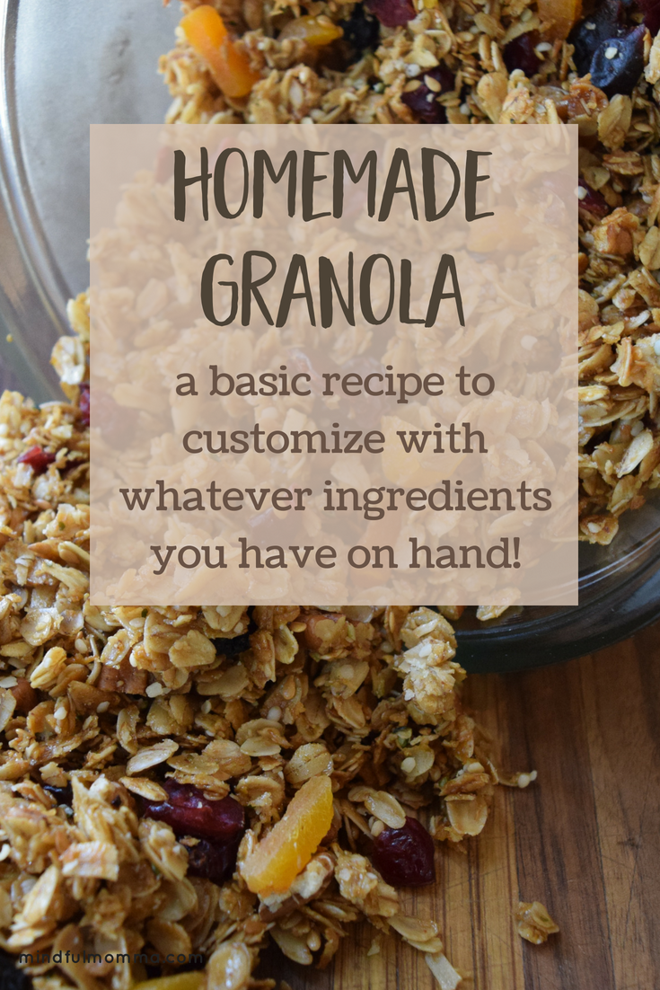 Finally a basic granola recipe that can be easily customized! Start with rolled oats, then add whatever nut and other other mix-ins (coconut, wheat germ etc...) you happen to have in your pantry. Sweeteners and oils can also be swapped out based on preferences and allergies. This recipe gives you the proportions you need to make delicious, healthy homemade granola the whole family will love! | #granola #homemadefood #breakfastideas #healthyrecipe #familyfood via @MindfulMomma