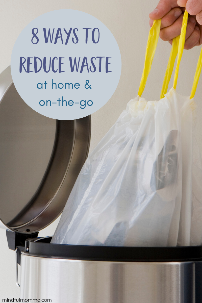 8 ways to reduce the amount of garbage you produce each week. These easy changes are eco-friendly and good for the planet, but will save you money too! | #zerowaste #wastefree #reusable #ecofriendly #sustainable #greenliving via @MindfulMomma