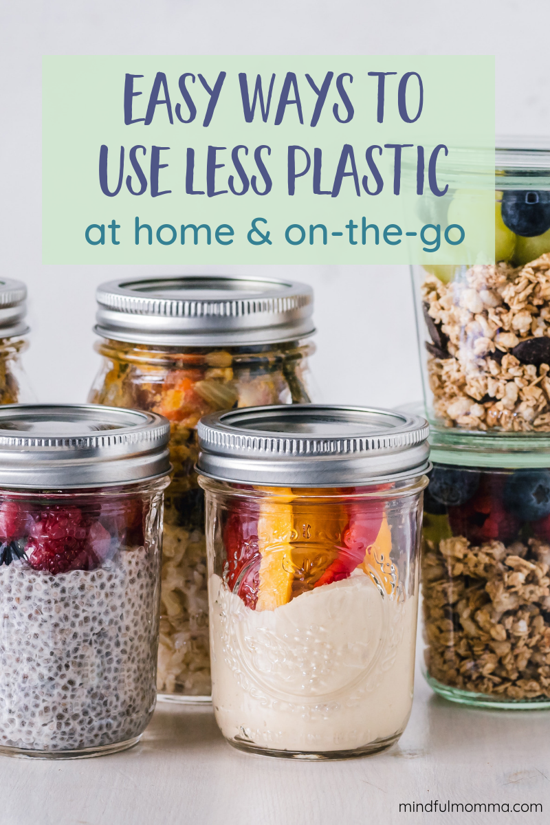 A whole bunch of easy ways to reduce plastic use in your home and life. This comprehensive guide covers grocery shopping, plastic-free and reusable kitchen and bathroom products, plus tips for avoiding plastic on-the-go --> to help you live a more eco-friendly, natural, zero-waste lifestyle. | #plasticfree #zerowaste #ecofriendly #naturalliving #greenliving #mindfulmomma via @MindfulMomma