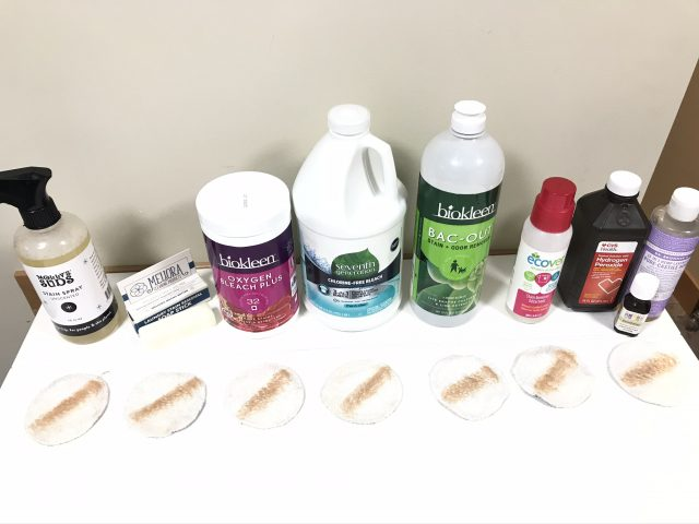 Eco-friendly stain removers test before