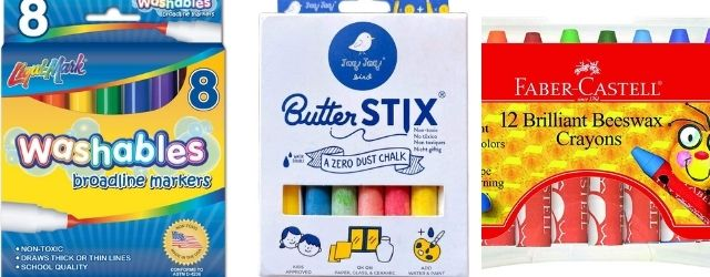 eco-friendly markers, crayons, chalk