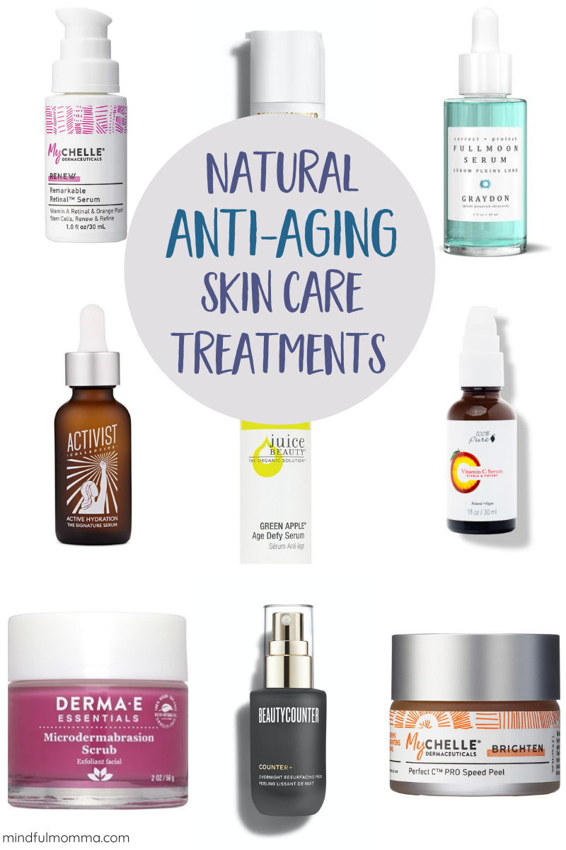 Find the best natural anti-aging skin care treatments that use alpha and beta hydroxy acids, vitamin C, retinol, hyaluronic acids and other naturally occurring ingredients to provide deep exfoliation, cell rejuvenation and an intense moisture boost to help your skin glow! | #greenbeauty #naturalbeauty #antiaging #skincare via @MindfulMomma