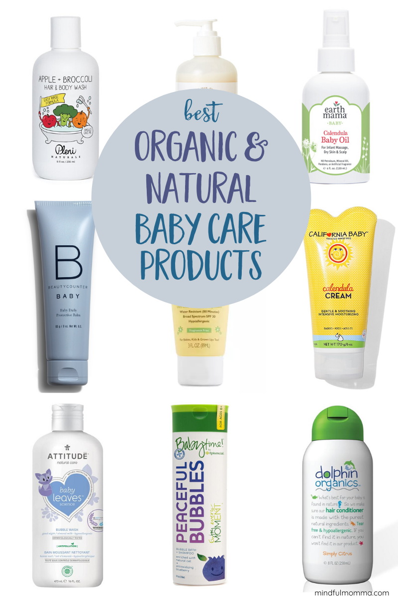 A roundup of the best organic & natural baby products for bath and body care from trusted brands that are affordable and easy to find. Includes baby shampoo, bubble bath, diaper creams, lotions and more. | #baby #babyproducts #organic #naturalproducts #bubblebath via @MindfulMomma