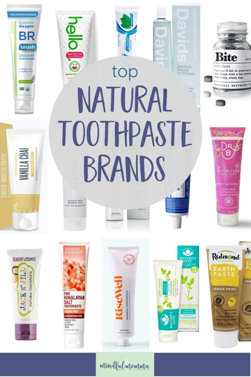 Discover all the best natural toothpaste brands that are SLS-free, fluoride-free, vegan and non-toxic. This comprehensive list includes activated charcoal toothpaste, whitening toothpaste, zero waste toothpaste, kid-friendly toothpaste and more. Learn why conventional toothpaste is not healthy and get a FREE printable toothpaste shopping checklist to help you find the brands that work for you! via @MindfulMomma