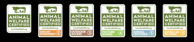 Global Animal Partnership labels Step 1 to Step 5+