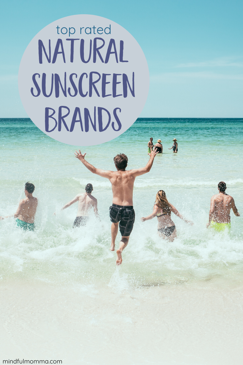 Find the best non-toxic sunscreen brands that use mineral sunscreen blockers like zinc oxide instead of toxic sunscreen chemicals. These are highly rated by the EWG and mom-tested with young kids. Review includes sunscreen lotions, sticks and sprays. | #sunscreen #mineralsunscreen #naturalproducts #kidsafe #skincare via @MindfulMomma