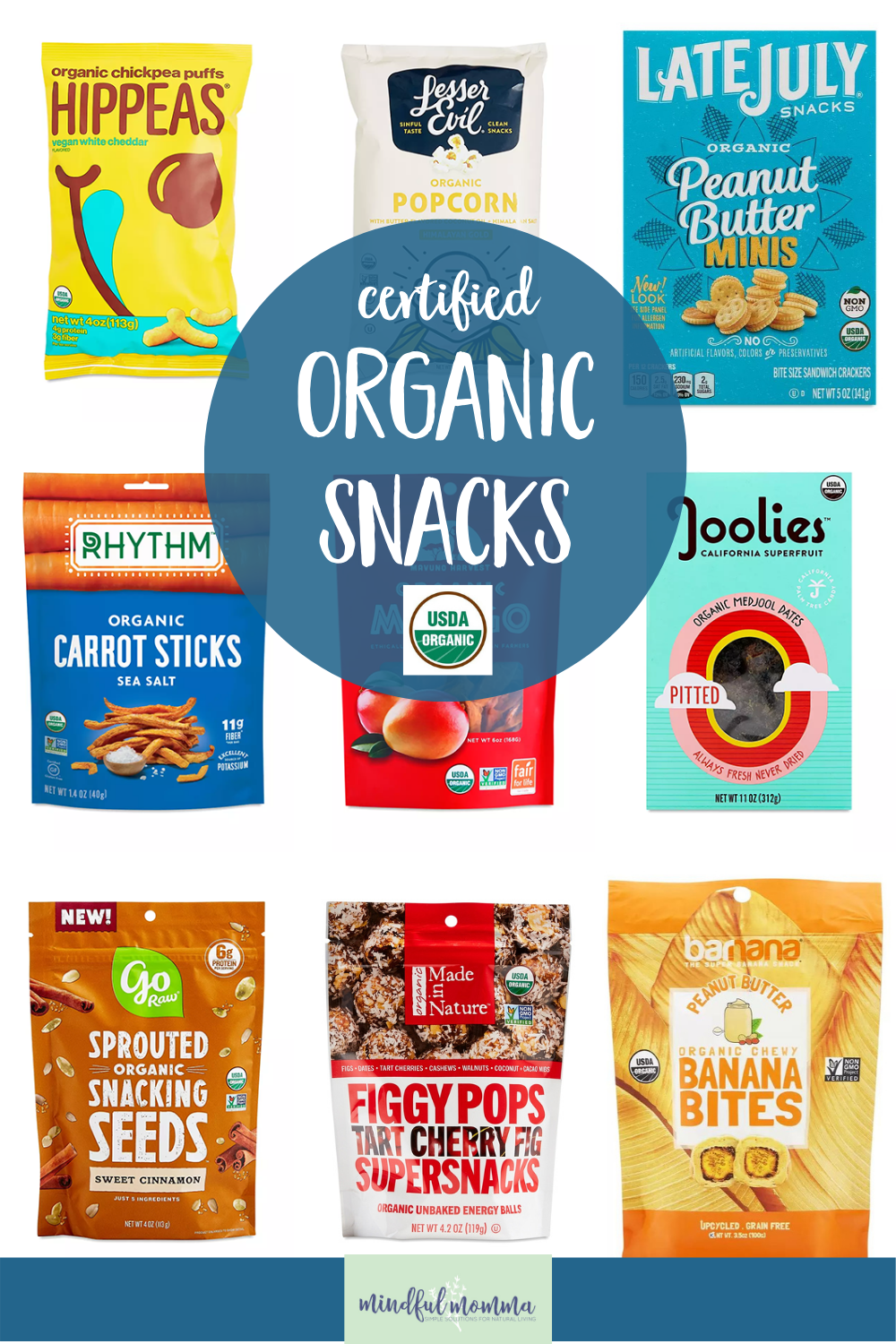 A roundup of certified organic snacks that are not only healthy and delicious but perfect for on-the-go snacking and school lunches. | #organic #snacks #lunchbox #healthyfood via @MindfulMomma