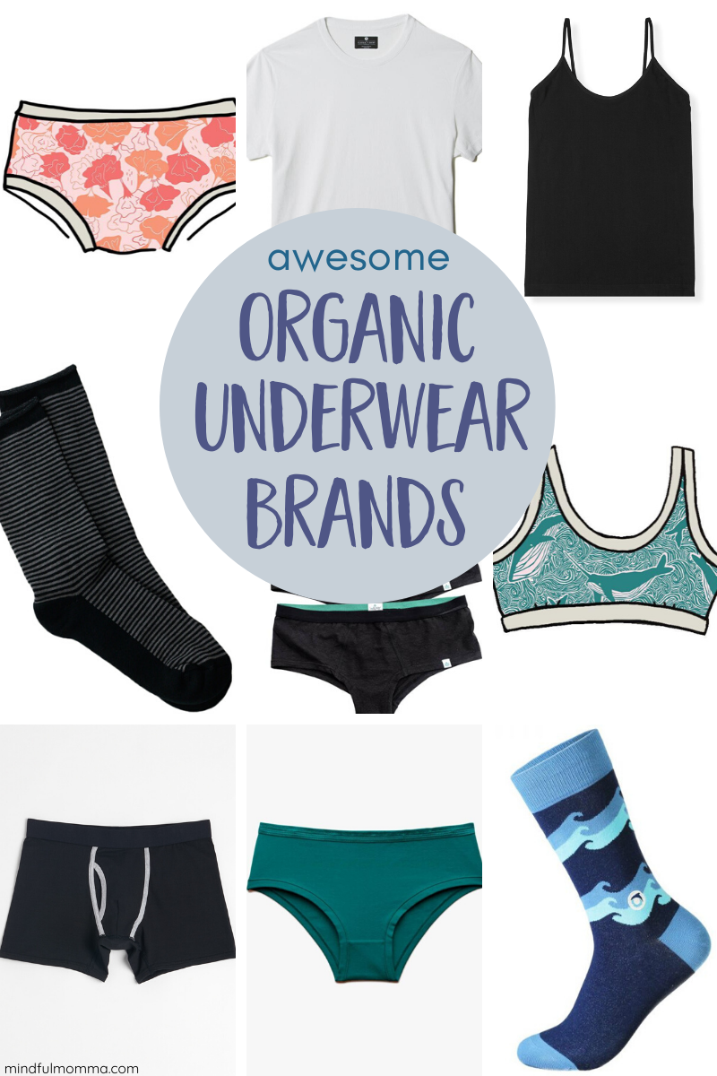 Find the best organic underwear, bras, socks, camis and t-shirts from reputable, socially conscious brands. | #organic #organiccotton #underwear #fashion #clothing via @MindfulMomma