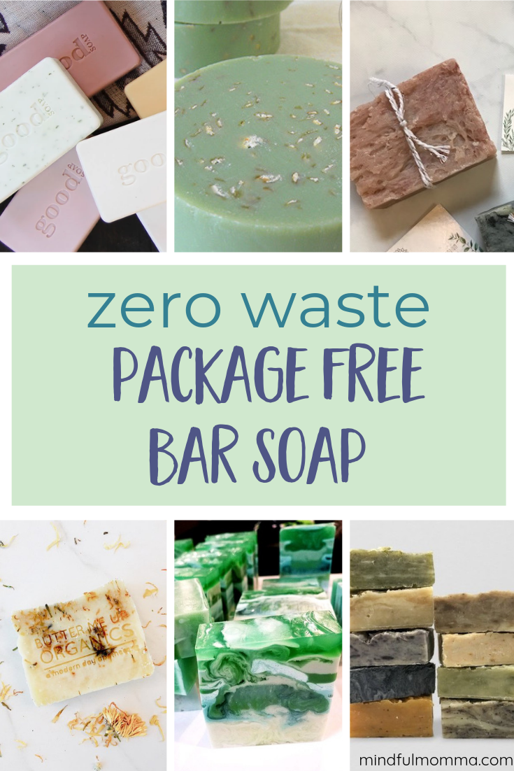 A roundup of sources for bar soap that is sold without a box! You'll love these soaps made with natural oils and scented with essential oils and the fact that they are package free helps you meet your zero waste goals! | #soap #zerowaste #packagefree #handmade #naturalbeauty #essentialoils #mindfulmomma  via @MindfulMomma