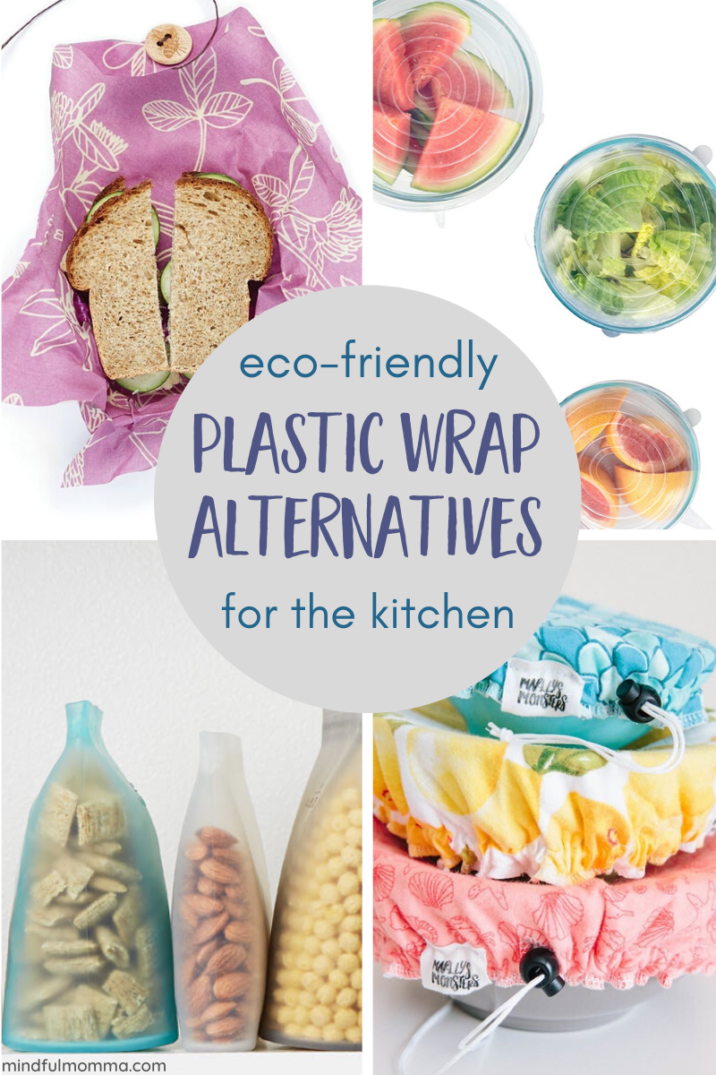 Roundup of eco-friendly plastic wrap alternatives including reusable bowl covers, beeswax wraps, silicone bags and lids, reusable bags, stainless steel and glass food storage containers and more. | #zerowaste #ecofriendly #reusable #kitchen via @MindfulMomma