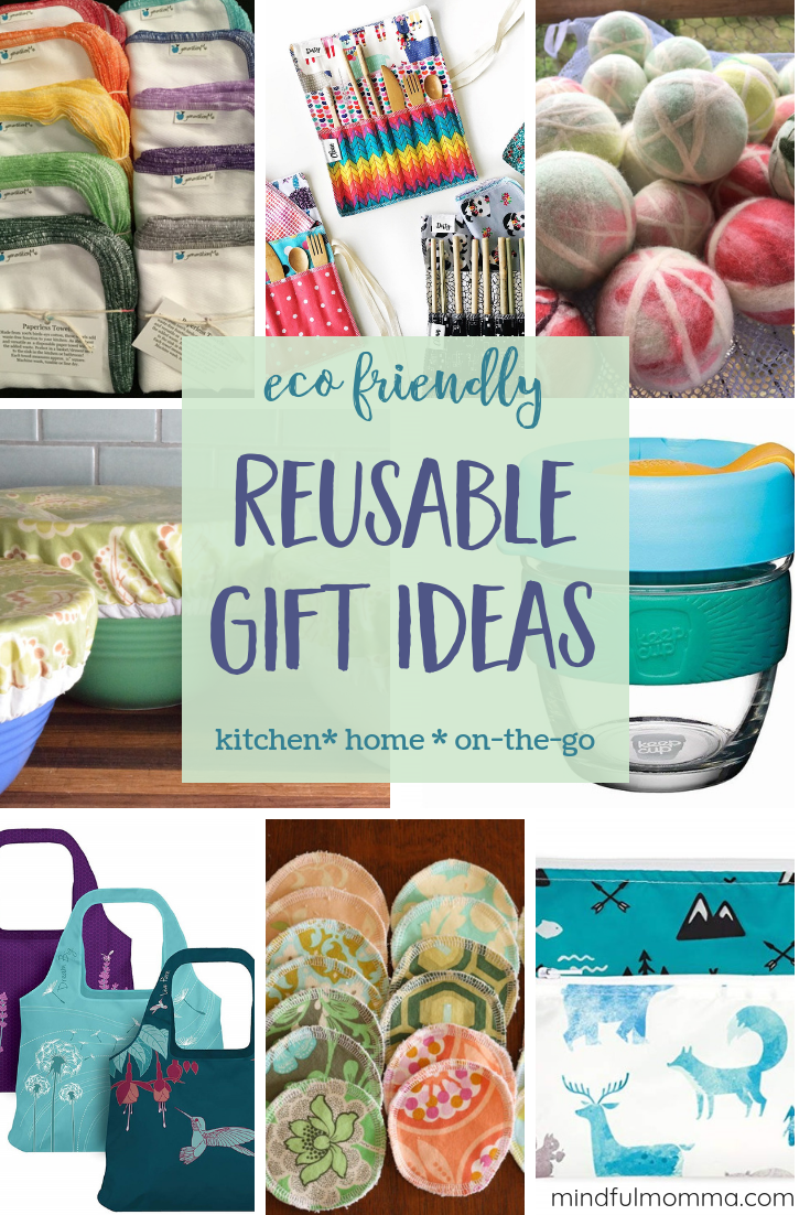 Eco-friendly, reusable gifts for the kitchen, home, and on-the-go that replace wasteful, disposable products but are nice looking and easy to use too! | #gifts #reusable #ecofriendly #zerowaste #giftguide via @MindfulMomma