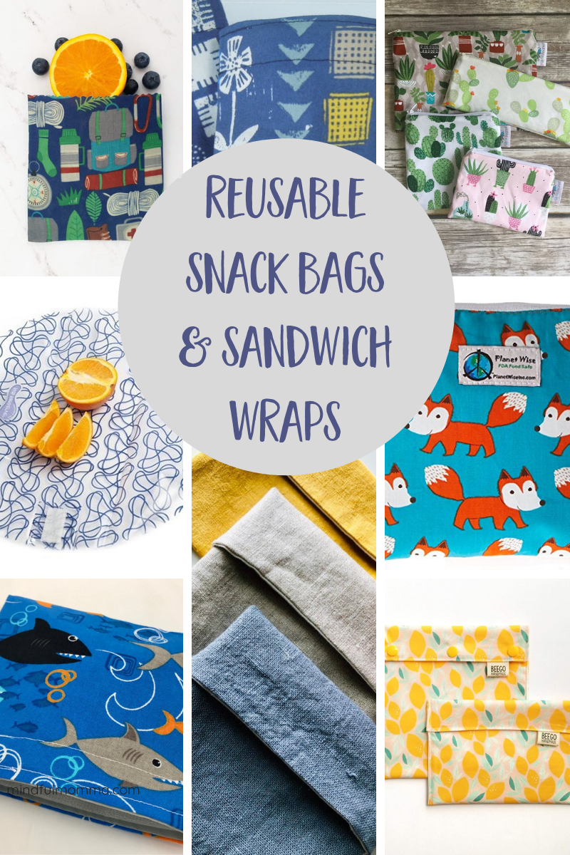 Roundup of reusable snack bags and sandwich wraps that are perfect for back-to-school lunches, on-the-go snacks, traveling and more! | #lunchgear #snackbags #schoollunch #zerowaste #ecofriendly via @MindfulMomma