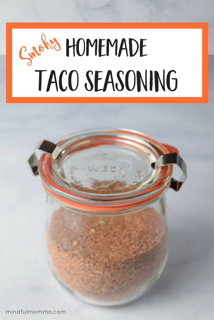 Smoky Homemade Taco Seasoning - This homemade taco seasoning is ahealthy substitute for store-bought taco seasoning packets -made with a simple blend of herbs and spices, including smoked paprika, and no added sugar or MSG.| #healthyfoods #spices #taconight #familymeals #mealplanning #pantry #homemade via @MindfulMomma