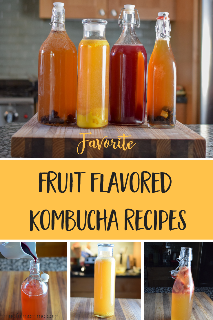 Favorite fruit flavored kombucha recipes - Learn how to do a secondary fermentation to add flavor and make fizzy kombucha - using fresh fruit, frozen/thawed fruit or dried fruit. These are my tried and true recipes including mango, blueberry, cherry, strawberry and cranberry. | #kombucha #fermented via @MindfulMomma