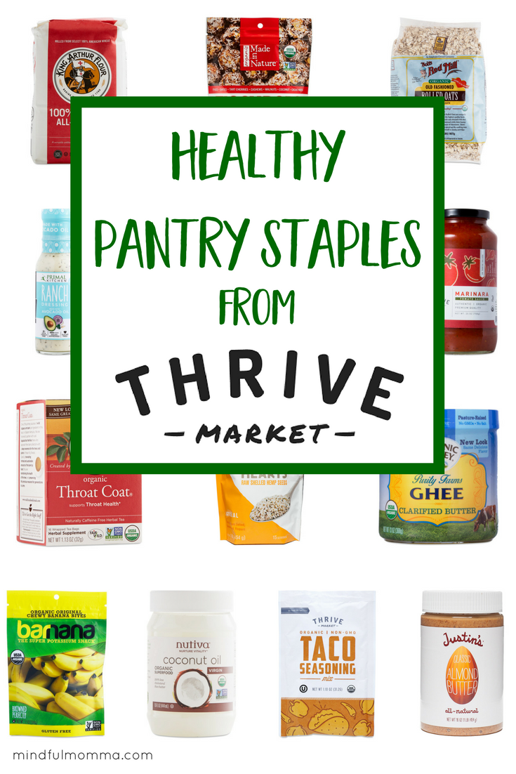 Find out how to get your favorite healthy & organic brands for less from Thrive Market - plus use this list for a pantry checklist and price comparison - so you can be prepared to make healthy, affordable meals for your family. | #healthyfood #healthyliving #thrivemarket #healthysnacks #organic #frugal #nonGMO via @MindfulMomma